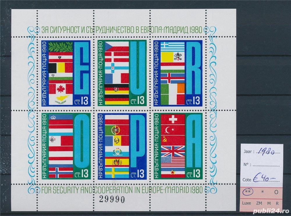 Timbre Bulgaria 1980 40 Euro CSCE Madrid bloc nestampilat