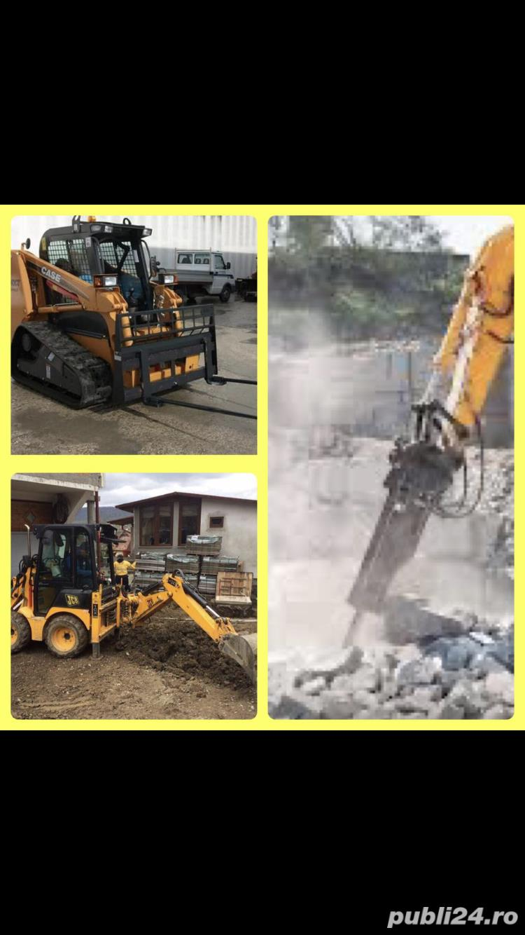 Închiriez utilaje constructii,buldo-excavator,miniexcavator,Bobcat,cilindru