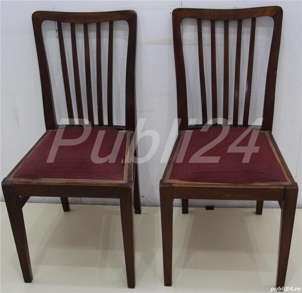 2 buc Scaune vintage lemn masiv; Scaun cu sezut tapitat 30x30 cm