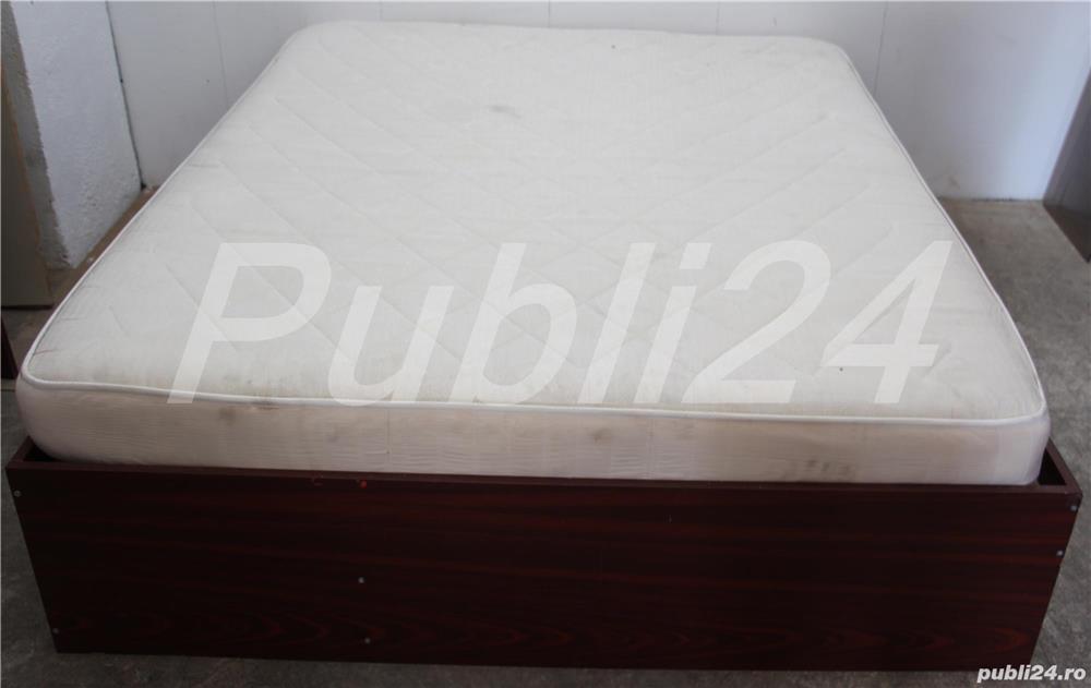Cadru de pat dublu; Pat de mijloc cu Somiera si Saltea 200x160 cm