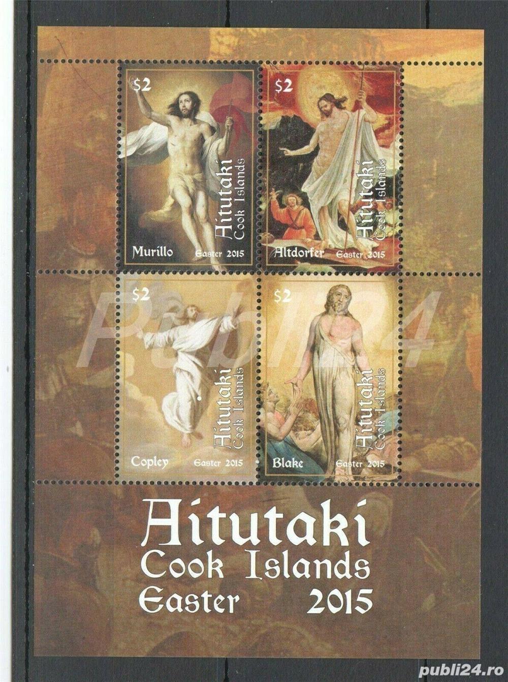 Timbre Aitutaki 2015 pictura Murillo colita nestampilata