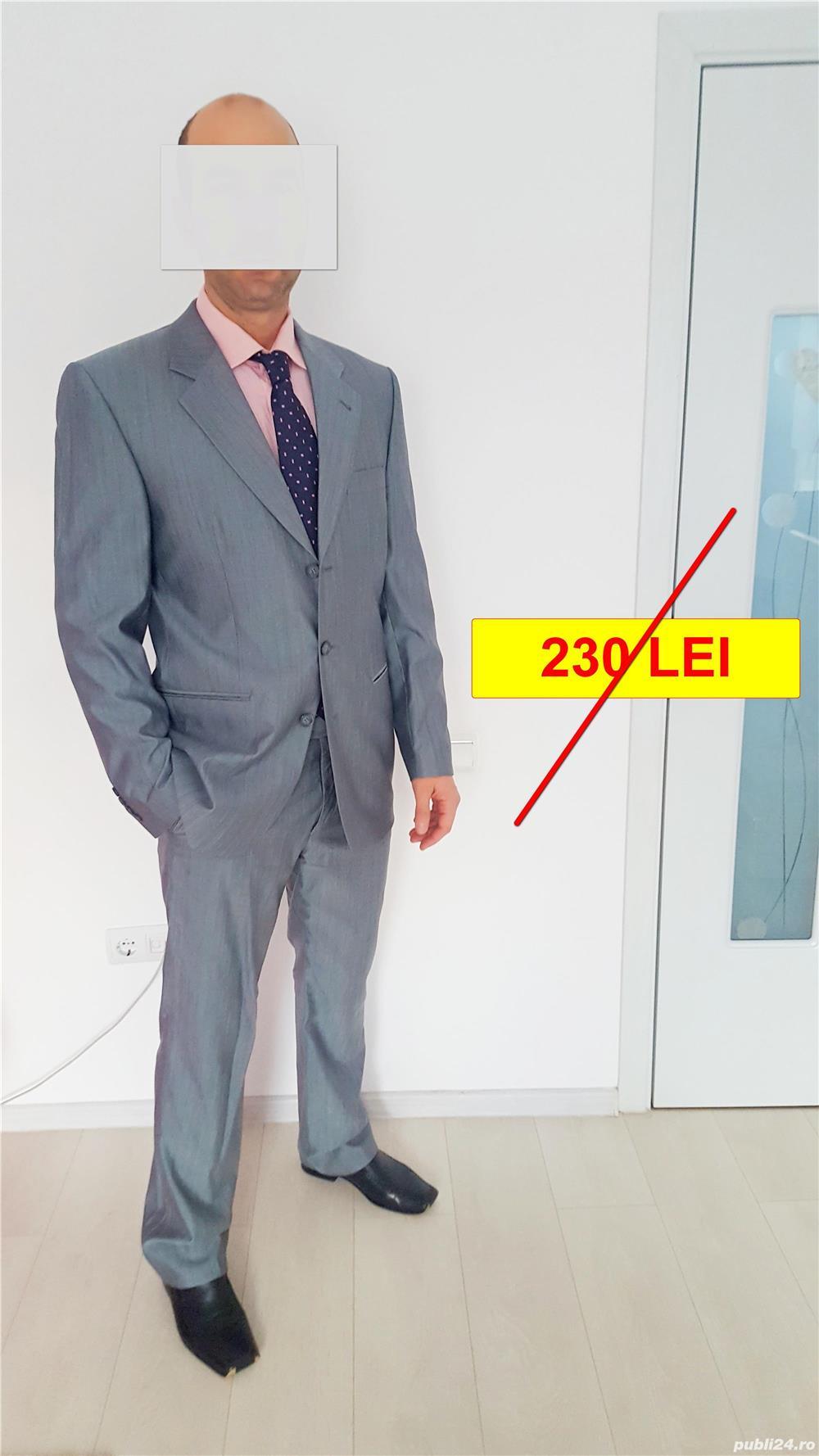 Costum bărbătesc SEROUSI , mărime 52 , culoare gri SACOU + PANTALONI