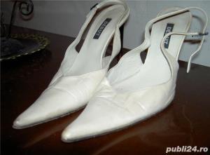 pantofi dama bej de piele 38 - imagine 1