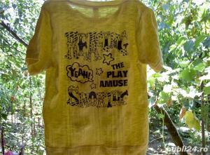 tricou galben creponat cu imprimeu M - imagine 1