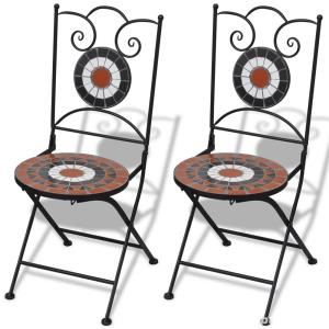 Set de 2 scaune din mozaic, culoare teracota si alb vidaXL (41535) - imagine 4