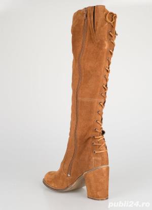 Cizme inalte genunchi piele naturala [absolut noi] - talpa 24.5 cm - imagine 6