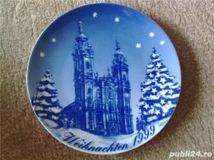 Vand farfurie decorativa portelan Bavaria, cobalt - imagine 1