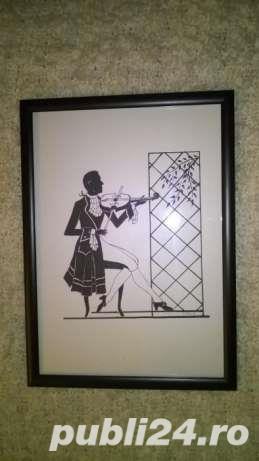 """Mic tablou gen """"silhouette"""" - Violonistul - imagine 1"""