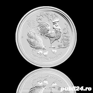 "DE VANZARE: 31,1g(1oz) Moneda de Argint ""Year of The Cock"" 2017 - imagine 2"