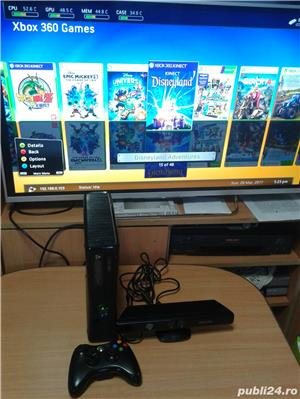 xbox 360 slim 250 gb, 48 jocuri ,kinect , GTA 5 , FIFA 18 , WW2K17 - imagine 2