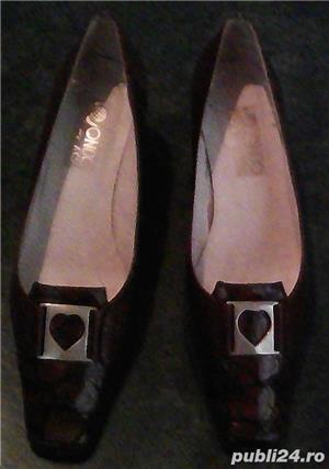 Set geanta + pantofi cu toc piele maro 36 Mondo Class - imagine 1
