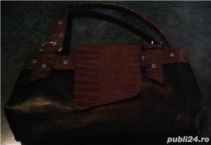 Set geanta + pantofi cu toc piele maro 36 Mondo Class - imagine 3
