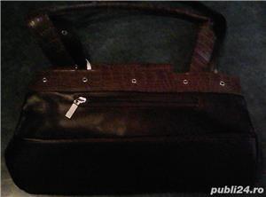 Set geanta + pantofi cu toc piele maro 36 Mondo Class - imagine 4