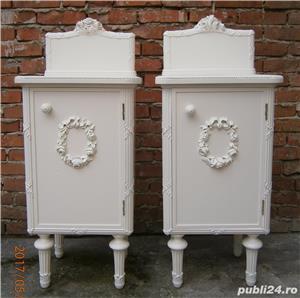 Noptiere vechi stil Ludovic XVI, albe, reconditionate (Mobila lemn/Dulapior/Comoda)  - imagine 3