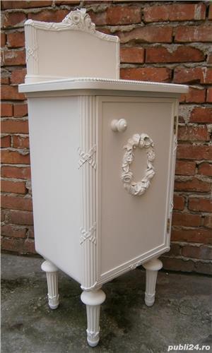 Noptiere vechi stil Ludovic XVI, albe, reconditionate (Mobila lemn/Dulapior/Comoda)  - imagine 4