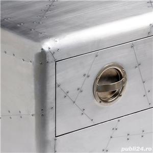 Masuta de cafea aviator avion pilot din aluminiu cu 1 sertar retro , vidaXL 242118 - imagine 4
