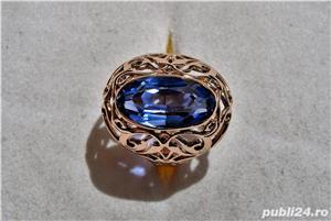 Inel aur 14 K filigran cu Safir natural albastru mare - imagine 1