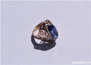 Inel aur 14 K filigran cu Safir natural albastru mare - imagine 2
