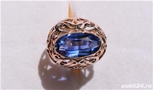 Inel aur 14 K filigran cu Safir natural albastru mare - imagine 5