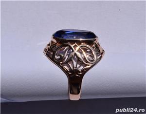 Inel aur 14 K filigran cu Safir natural albastru mare - imagine 4