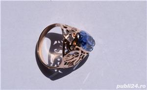 Inel aur 14 K filigran cu Safir natural albastru mare - imagine 7