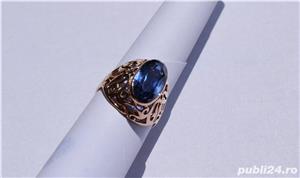 Inel aur 14 K filigran cu Safir natural albastru mare - imagine 6