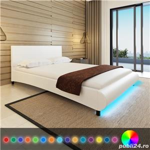 Cadru de pat cu piele artificiala si banda LED, 140 x 200 cm, alb , vidaXL 241985 - imagine 5
