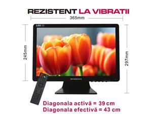 Televizor 12v tv portabil LED HD ∅ 40cm Auto Rulota Camion Tir Camping - imagine 1