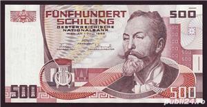 Cumpar 500 de schilling de austria, atat monede cat si bancnote ofer pret bun !!! - imagine 1