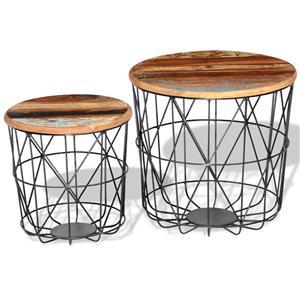 2 Masute de cafea din lemn reciclat rotunde 35 cm/45 cm 242192 - imagine 2