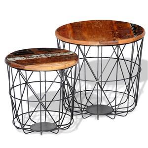 2 Masute de cafea din lemn reciclat rotunde 35 cm/45 cm 242192 - imagine 4