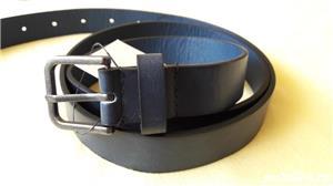 Curea barbati brand Zara, dimensiuni 117x2,5 cm, culoare bleumarin - imagine 2