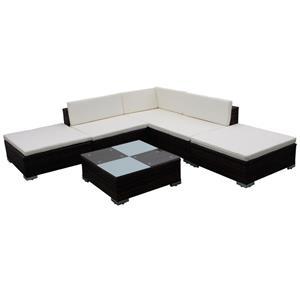 Set mobilier de gradina din poliratan 15 piese Maro 41256 - imagine 3