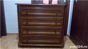 Comodă  cu 4 sertare din lemn de stejar   - imagine 1