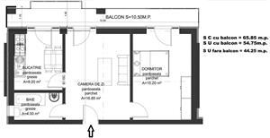 Dezvoltator apartam 2 cam intabulat 46+11 mp utili la alb Cl Cisnadiei - imagine 3