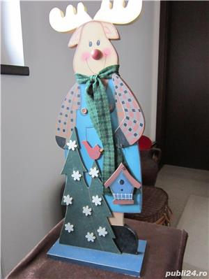 cadou inedit -Decoratiune vintage Rudolph  -mare,lemn- impecabil - imagine 2