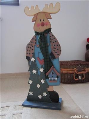 cadou inedit -Decoratiune vintage Rudolph  -mare,lemn- impecabil - imagine 1