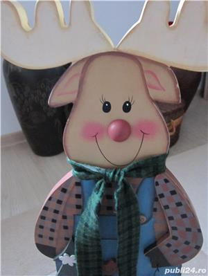 cadou inedit -Decoratiune vintage Rudolph  -mare,lemn- impecabil - imagine 6