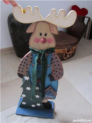 cadou inedit -Decoratiune vintage Rudolph  -mare,lemn- impecabil - imagine 4