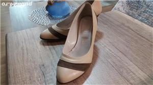 Pantofi bej cu maro din piele , 40-41 - imagine 1