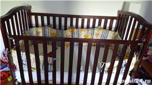 Vand pat bebelus din lemn cu saltea cu 2 fete, culoare wenge - imagine 1