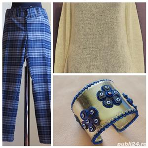 Pantaloni cadrilati mar M - imagine 2