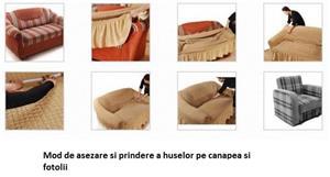 Set huse canapea si fotolii 3.1.1. - Verde - imagine 3