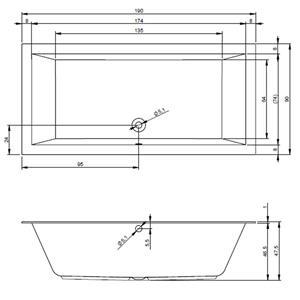 cada baie dreptunghiulara 190x90 cm  - imagine 5