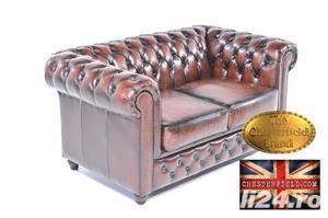 Set canapele din piele naturală -Maro Antique -1/2 locuri-Autentic Chesterfield Brand -IN STOC - imagine 2