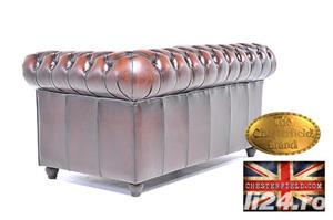Set canapele din piele naturală -Maro Antique -1/2 locuri-Autentic Chesterfield Brand -IN STOC - imagine 7