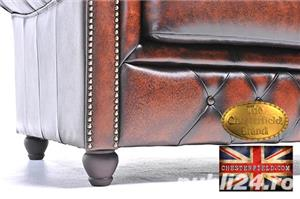 Set canapele din piele naturală -Maro Antique -1/2 locuri-Autentic Chesterfield Brand -IN STOC - imagine 9
