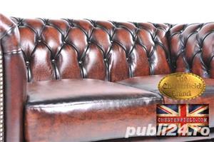Set canapele din piele naturală -Maro Antique -1/2 locuri-Autentic Chesterfield Brand -IN STOC - imagine 4