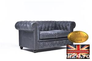 Canapea Chesterfield Brighton Vintage Black - imagine 3
