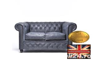 Canapea Chesterfield Brighton Vintage Black - imagine 1